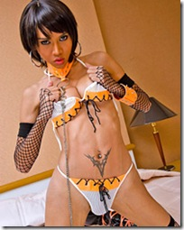 ladyboy long mint-sex slave and her kinky outfit